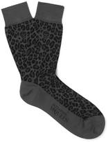 Alexander Mcqueen - Leopard Jacquard-knit Cotton-blend Socks