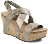 Pierre Dumas Pewter Distressed Hester Cross-Strap Sandal