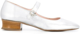 ALEXACHUNG Fach crystal-buckle ballerina pumps
