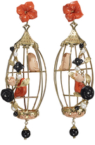 Of Rare Origin Lovebirds Earrings - Coral Multicolor