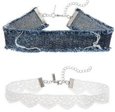 Topshop Women's Set Of 2 Lace & Denim Chokers