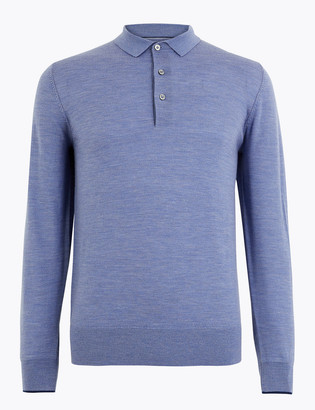 Marks and Spencer Pure Merino Wool Knitted Polo Shirt