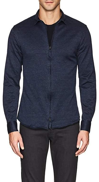 Giorgio Armani Men's Denim-Effect Cotton Jersey Shirt