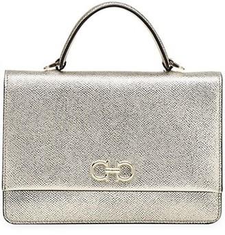 Salvatore Ferragamo Gancini Metallic Leather Top Handle Bag