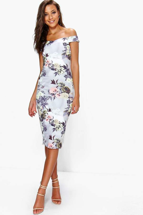 boohoo Tall Bardot Floral Print Midi Bodycon Dress