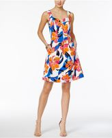 Nine West Floral-Print Fit and Flare Dress