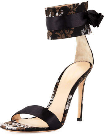 Gianvito Rossi Issa Floral-Jacquard 105mm Sandal