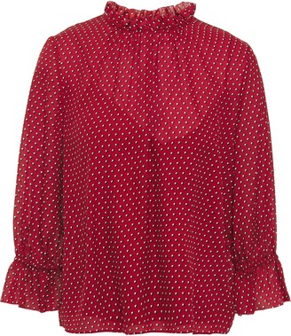 Frame Ruffle-trimmed Printed Silk-crepe Blouse