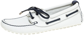 Louis Vuitton White/Navy Blue Leather Cup Loafers Size 41.5
