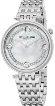Stuhrling Original Women's Quartz Watch, Silver Case, Mop Dial, Silver Bracelet