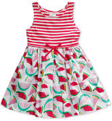 Sweet Heart Rose Watermelon & Stripes Dress, Little Girls (2-6X)