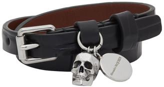 Alexander McQueen Black Croc Skull Double-Wrap Bracelet