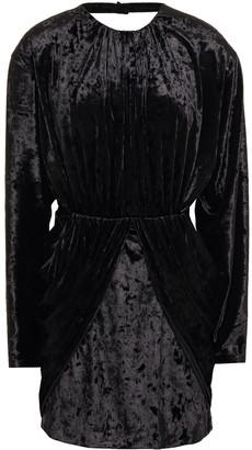 Sara Battaglia Open-back Draped Crushed-velvet Mini Dress
