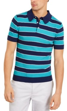 Paisley & Gray Men's Slim-Fit Wide Stripe Polo Shirt