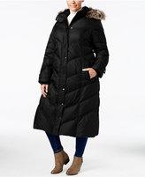 London Fog Plus Size Faux-Fur-Hood Down Puffer Coat