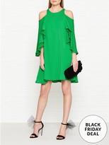 Halston Short Sleeve Cold Shoulder Round Neck Dress