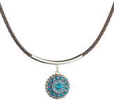 Teal & Brown Faux Crystal-Snap Pendant Necklace