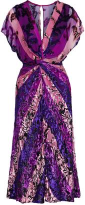 Prabal Gurung Twist-front Metallic Fil Coupe Striped Chiffon Dress