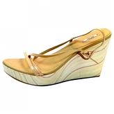 Miu Miu brown Strappy wooden wedge open toe shoe
