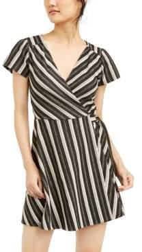 Crystal Doll Juniors' Glitter-Stripe Faux-Wrap Dress
