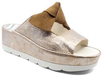 Fly London Women's Sandals 007 - Luna & Camel Platform Bade Leather Slide - Women