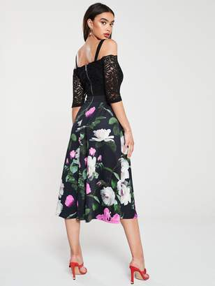 Very Lace Bardot Scuba Prom Dress - Print