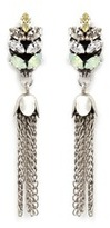 Anton Heunis Chain tassel Swarovski crystal leaf stud earrings