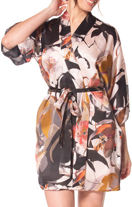 Christine Lingerie Sedona Printed Silk Short Robe