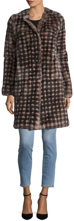 Yves Salomon Women's Checkered Rex Rabbit Fur Coat