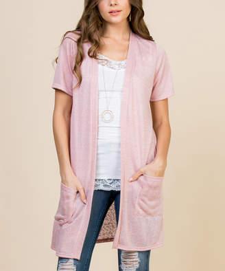 Riah Fashion Women's Cardigans Coral - Coral Pocket Short-Sleeve Duster - Women & Plus