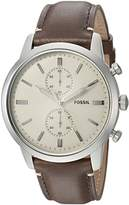Fossil Men's '44mm Townsman' Quartz Stainless Steel and Leather Casual Watch, Color: (Model: FS5350)