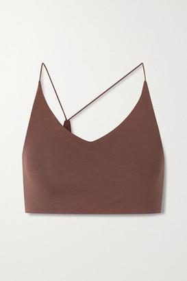 Skin Glenna Asymmetric Organic Pima Cotton-blend Jersey Soft-cup Bra - Brown