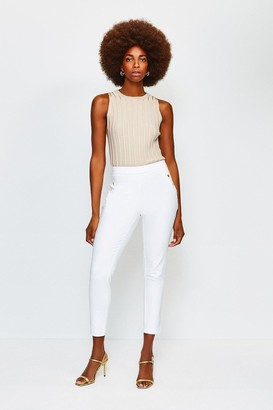 Karen Millen Button Detail Cotton Sateen Capri Trousers