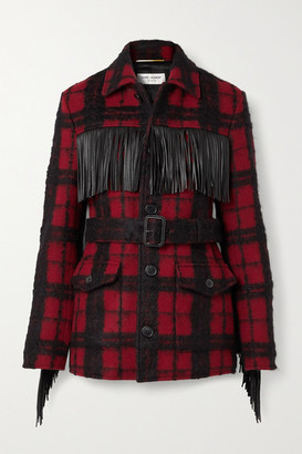Saint Laurent Belted Fringed Leather-trimmed Checked Wool-blend Jacket - Red