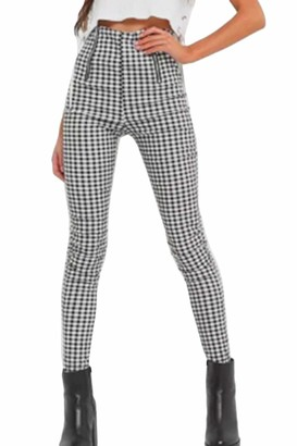 Zilcremo Women Skinny Pencil Pants High Waist Slim Leggings Checkered Trousers Black L