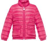 Moncler Lans Flap-Pocket Lightweight Down Puffer Jacket, Fuchsia, Size 8-14