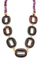 Nest Purple Agate & Ebony Wood Link Long Necklace