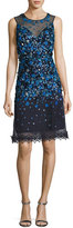 Elie Tahari Justina Sleeveless Sequined Mesh Cocktail Dress, Navy