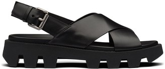 Prada Crossover Strap Calf Leather Sandals