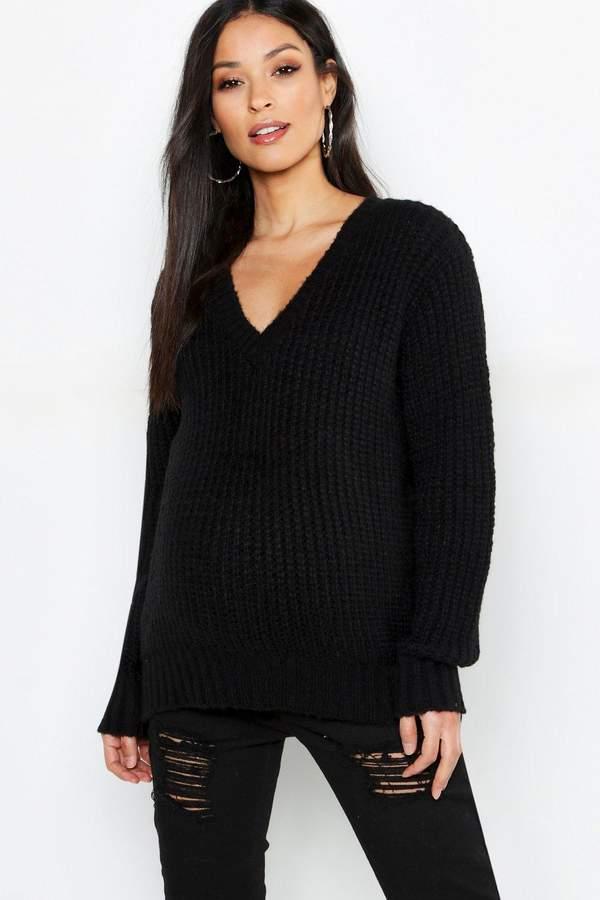 Maternity V Neck Knitted Sweater