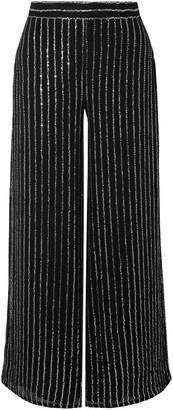 Temperley London Neri Sequin-embellished Georgette Wide-leg Pants