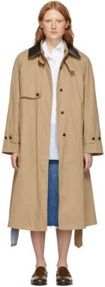 Loewe Beige Silk Contrast Collar Trench Coat