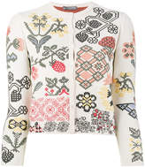 Alexander McQueen graphic floral intarsia fitted cardigan