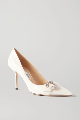 Jimmy Choo Saresa 85 Crystal-embellished Leather Pumps - Off-white