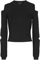 Versus Versace - Cropped Cutout Ribbed-knit Sweater - Black