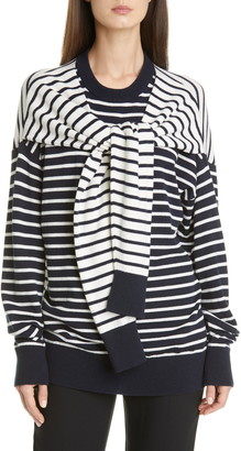 Michael Kors Sleeve Detail Stripe Cashmere Sweater