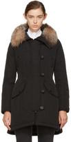 Moncler Black Down and Fur Arehdel Coat