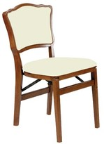 Upholstered Vinyl Padded Folding Chair Stakmore Company, Inc. Color: Fruitwood/Off White Vinyl