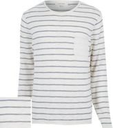 River Island Ecru Stripe Marl Lightweight Pocket Jumper