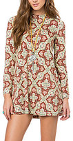 O'Neill Leona Floral Medallion-Printed Mock Neck Long-Sleeve Shift Dress